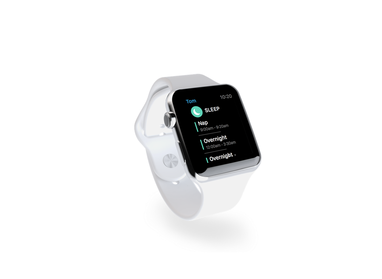 Apple Watch showing Baby Bundle App UI